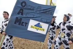 Folkuppklädd som kor på stranden, Belgien Royaltyfri Fotografi
