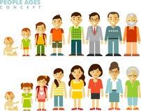 Folkutvecklingar på olika åldrar i plan stil Arkivfoton