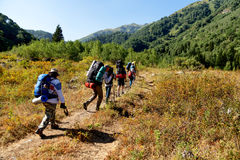 Folkvandring i berg Arkivbilder