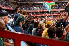 Folla alla partita di rugby Fotografia Stock