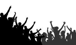 Folla allegra che applaude, vettore della gente della siluetta Partito, applauso Concerto di ballo di fan, discoteca royalty illustrazione gratis