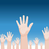 Folla che solleva le mani royalty illustrazione gratis