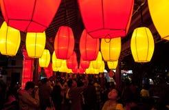 Folla cinese della via commerciale del nuovo anno Fotografia Stock
