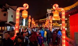 Folla cinese della via commerciale del nuovo anno Immagini Stock