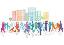 Folla Colourful in città Immagini Stock Libere da Diritti