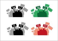 Folla con le siluette dei segni royalty illustrazione gratis