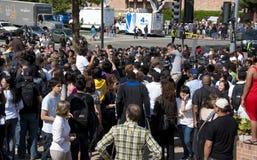 Folla dei ventilatori Fotografie Stock