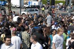 Folla dei ventilatori e della pressa Immagine Stock Libera da Diritti
