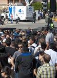 Folla dei ventilatori e della pressa Immagini Stock