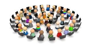 Folla del fumetto, cerchio del computer portatile Fotografia Stock Libera da Diritti