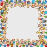 Folla del fumetto dei bambini con uno spazio vuoto a forma di scatola royalty illustrazione gratis