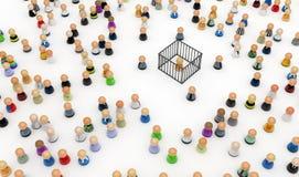 Folla del fumetto, gabbia Fotografie Stock Libere da Diritti