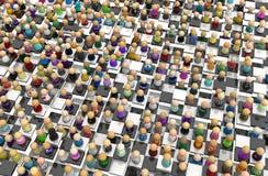 Folla del fumetto, pavimento della scacchiera Fotografia Stock