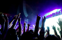 Folla della gente ad un concerto rock con le mani nell'aria Fotografia Stock Libera da Diritti