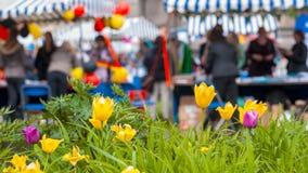 Folla della gente con i tulipani nella priorità alta Fotografie Stock Libere da Diritti