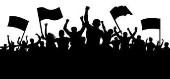 Folla della gente con le bandiere, insegne Sport, calca, fan Dimostrazione, manifestazione, protesta, colpo, rivoluzione illustrazione di stock