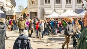 Folla della gente durante la fiera agricola Immagine Stock Libera da Diritti