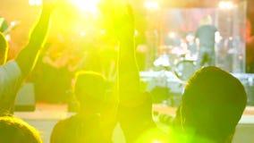 Folla della gente illuminata da luce variopinta durante il concerto 4K video d archivio