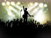 Folla della gente, siluette in night-club Fotografia Stock