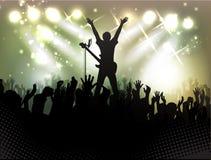 Folla della gente, siluette in night-club Immagini Stock