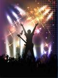 Folla della gente, siluette in night-club Fotografia Stock Libera da Diritti