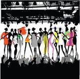 Folla della sfilata di moda Fotografie Stock