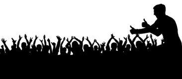 Folla della siluetta d'applauso della gente Incoraggiare della gente della folla della siluetta illustrazione di stock