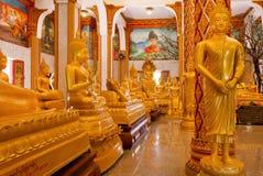 Folla delle statue dorate di Buddha in tempio interno di Wat Chalong di pose differenti Immagine Stock