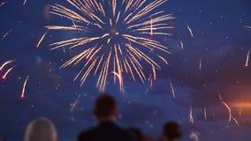 Folla dello sguardo della gente ai fuochi d'artificio video d archivio