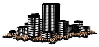 Folla di affari, città scura Immagini Stock