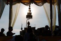 Folla di buddismo di Songkran Fotografia Stock Libera da Diritti