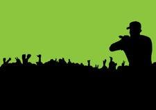 Folla di concerto della siluetta Fotografia Stock
