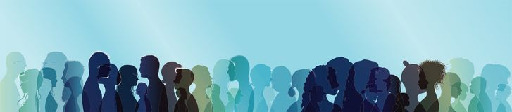 Folla di conversazione Conversazione della gente Dialogo fra la gente Profili colorati della siluetta con il profilo bianco Espos illustrazione di stock