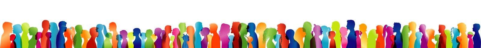 Folla di conversazione Grande gruppo di persone Dialogo fra la gente Profili colorati della siluetta Conversazione della gente Es illustrazione vettoriale