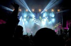 Folla di fare festa la gente ad un concerto in tensione Immagine Stock