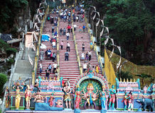 Folla di un tempio indiano Fotografia Stock