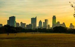 Folla dorata del parco di Zilker di alba che gioca primavera in anticipo immagini stock