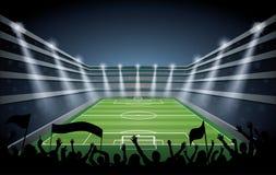 Folla emozionante della gente ad uno stadio di calcio Fotografia Stock Libera da Diritti