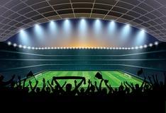 Folla emozionante della gente ad uno stadio di calcio Stadio di football americano illustrazione vettoriale