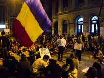 Folla rumena dei dimostranti contro Rosia Montana Fotografia Stock Libera da Diritti