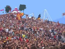 Folla sulla fase 1 Immagine Stock