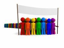Folla variopinta con una bandiera Fotografia Stock