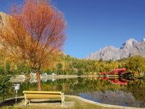 Follaje colorido en otoño en el lago Kachura, Skardu Gilgit baltistan, Paquist?n imagen de archivo libre de regalías