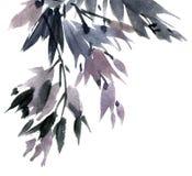 Follaje pintado acuarela del árbol libre illustration