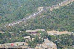 Folle della gente sulla grande muraglia della Cina Fotografie Stock Libere da Diritti