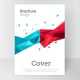 Folleto, cartel, plantilla de la cubierta Triángulos azules y rojos del fondo abstracto acción-vector Imagenes de archivo