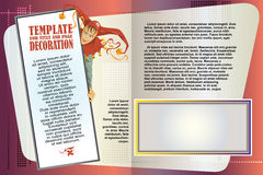 Folleto de la plantilla del vector El arlequín hace publicidad de sus productos Foto de archivo libre de regalías