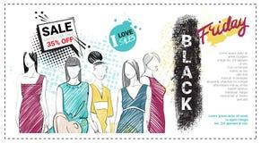 Folleto de la plantilla de la venta de Black Friday con los modelos de moda dibujados mano y espacio de la copia, nueva colección Foto de archivo