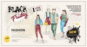 Folleto de la plantilla de la venta de Black Friday con los modelos de moda dibujados mano y espacio de la copia, nueva colección Foto de archivo libre de regalías