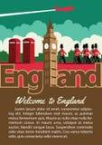 Folleto de la señal de Inglaterra en el diseño del color del vintage de la tipografía, adv stock de ilustración